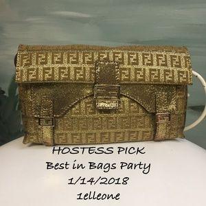 7f654398ae ... HOST PICK FENDI METALLIC GOLD ZUCCHINO LEATHER BAG ...